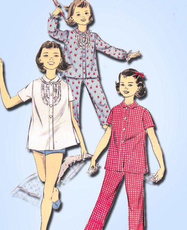 1950s Vintage Advance Sewing Pattern 8460 Toddler Girls 2 PC Pajamas Size 6  24B df86dfba1