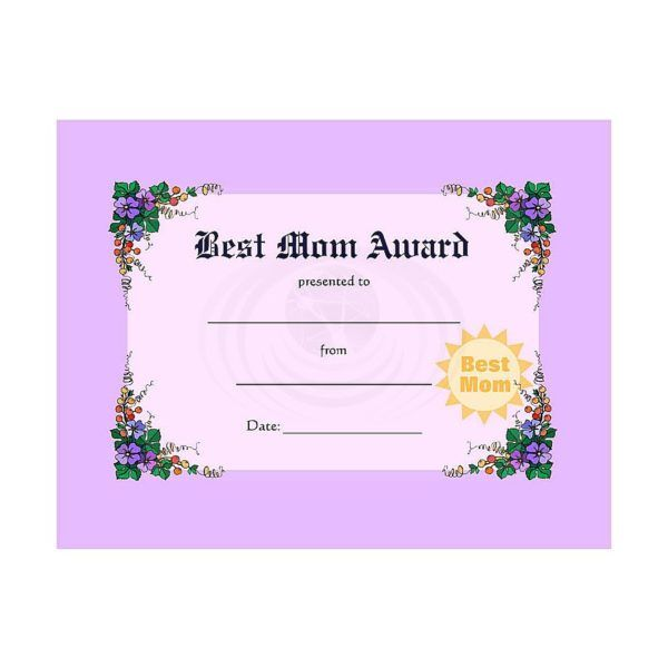 Best Mom Award Certificate