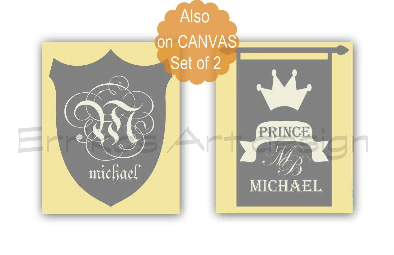 Baby Boy Nursery, Custom Name, Little prince, Initials Wall Art ...