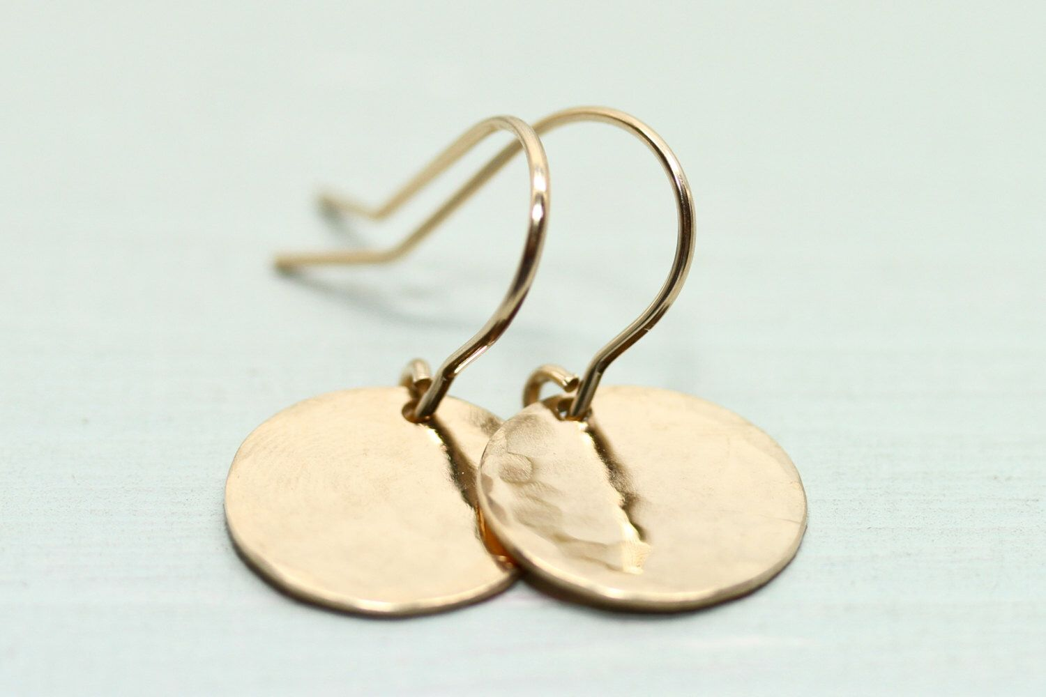 Gold Earrings Disc Circle Minimalist Jewelry Sea And Cake 14k Filled