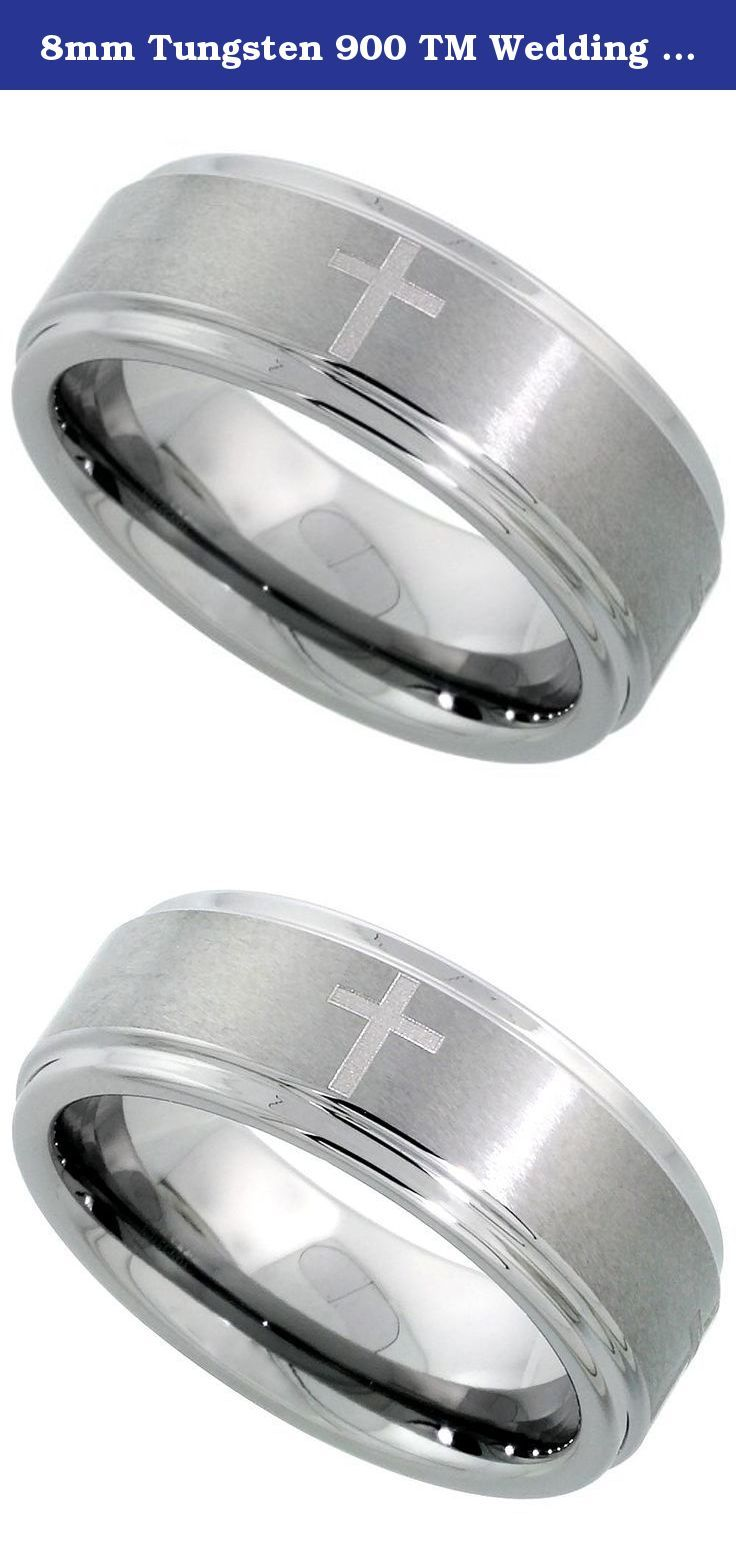 8mm Tungsten 900 TM Wedding Ring Etched Crosses Satined Finish Recessed Edges Comfort Fit Size