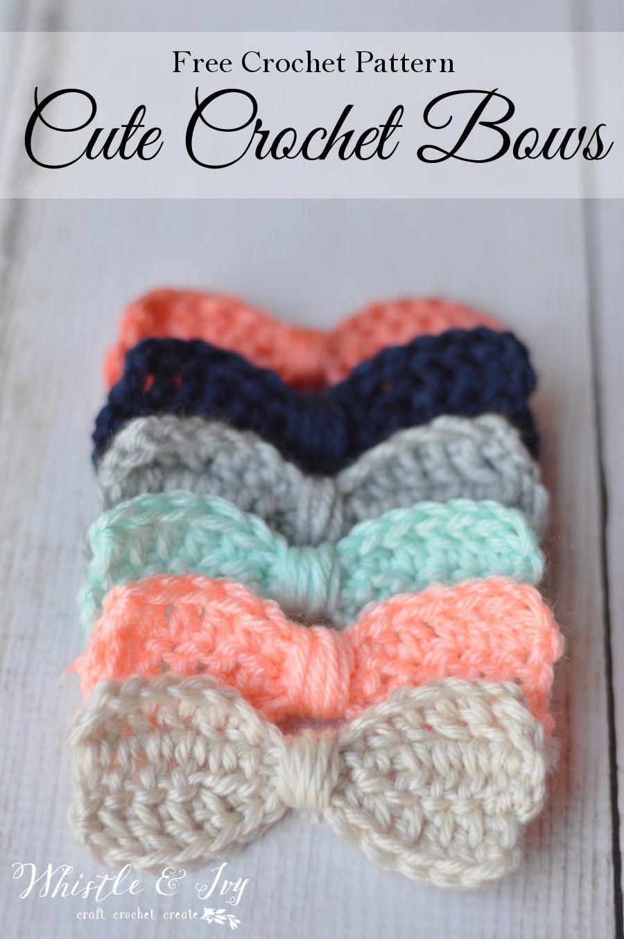Cute Crochet Bows   Tejido, Ganchillo y Moños