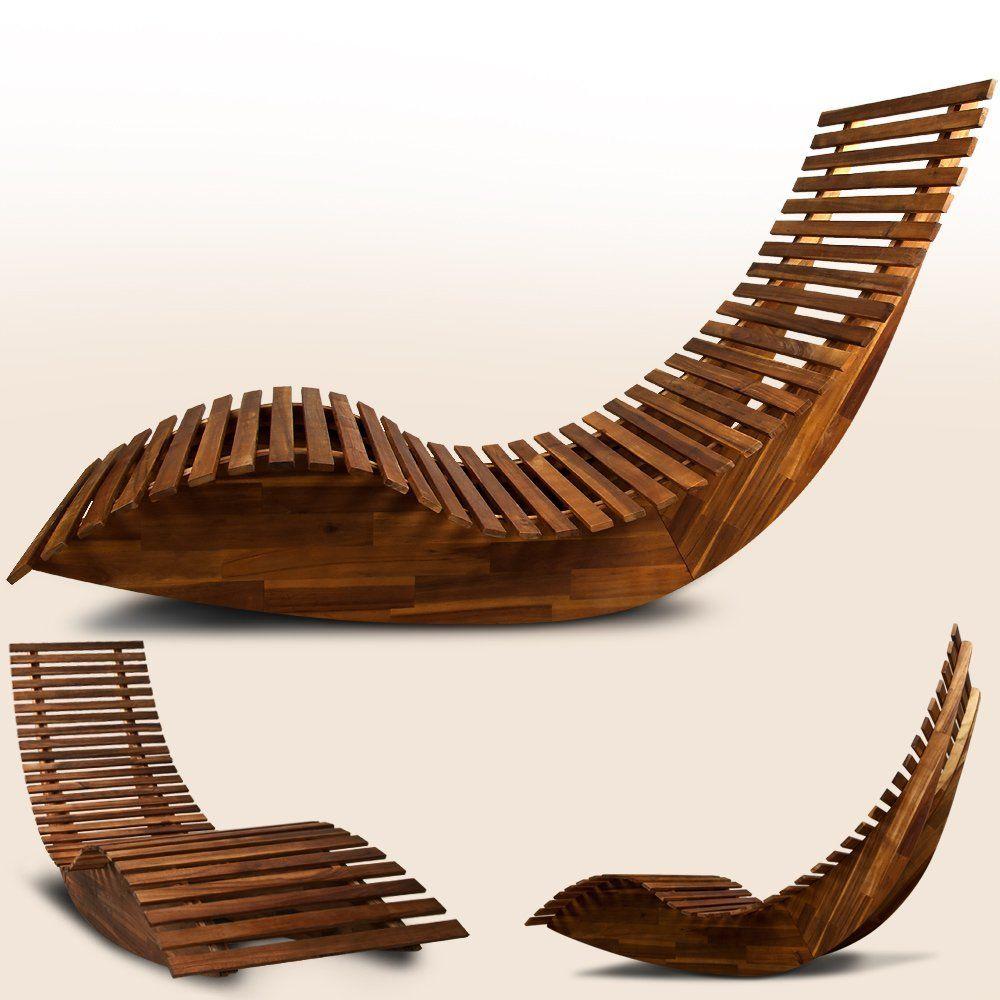 Wooden Sun Lounger - Garden Patio Deck Chair Curved Sauna Seat ...