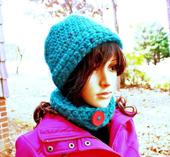 Beanie with BuiltIn Skinny Scarf. by Threadmill on Etsy, $32.00