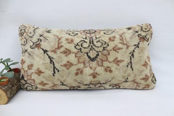 Boho Pillow,12x24 Handwoven Rug Pillow,Lumbar Pillow,Embroidered Pillow,Pillow Cover,Tribal Pillow,B
