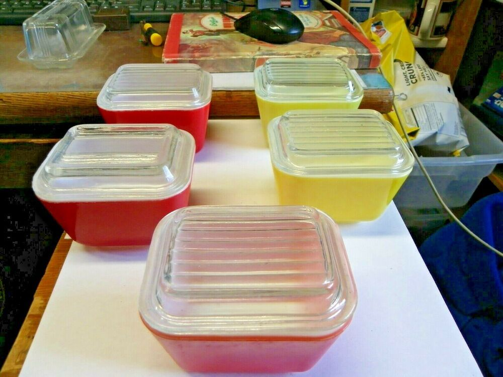5 Vintage Pyrex Glass Red Yellow Orange Red 1 1 2 Cup Baking Dish With Lids Afflink Contains Affiliate Links Vintage Pyrex Glass Pyrex Vintage Pyrex Glass