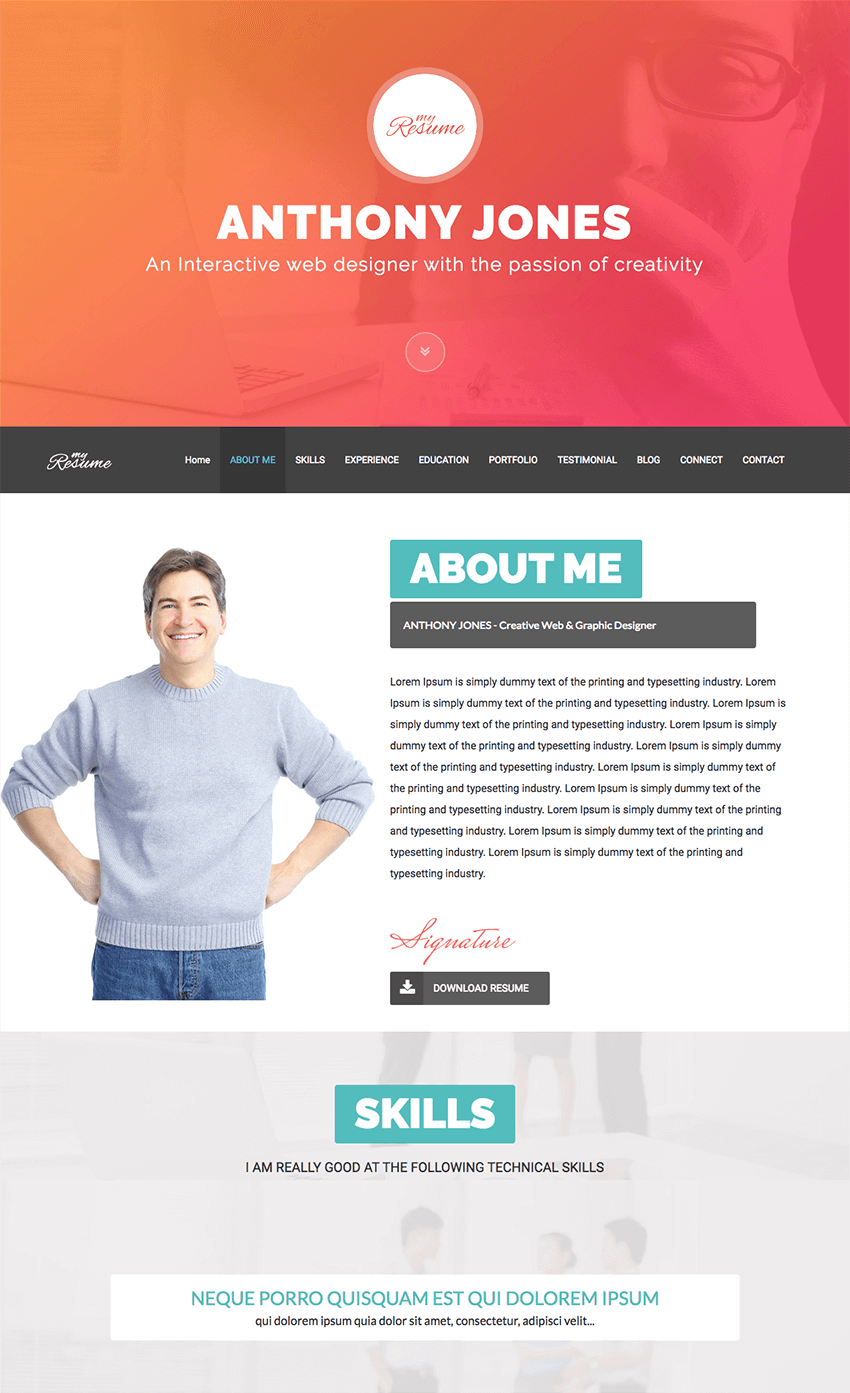 how to make a personal resume website  from a wordpress