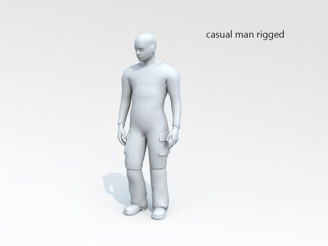 Download Casual man lowpoly rigged 01 free 3D model or