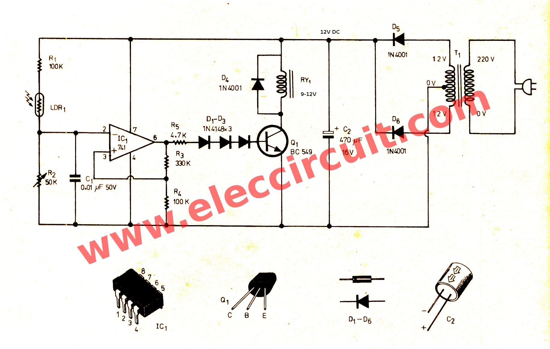 Automatic night light switch using 741 op ampg 18311161 lets to see automatic op amp night light circuit using it is also very simple as my feelings it has high sensitivity more than onehigh accuracy pooptronica Images