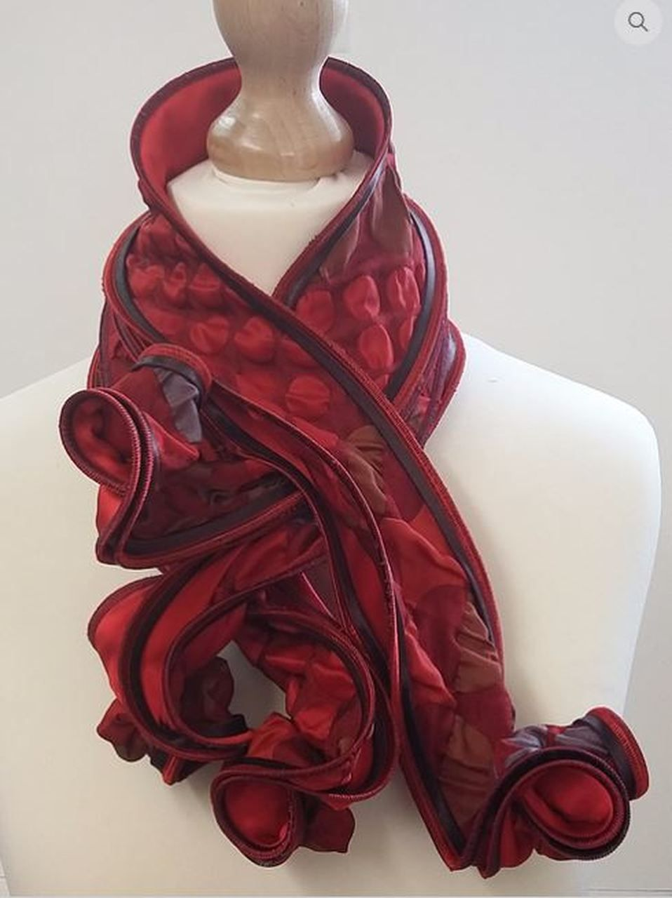 Silk Hosta Sculpted Scarf Red In 2020 Handcrafted Scarves High Fashion Scarf Scarf
