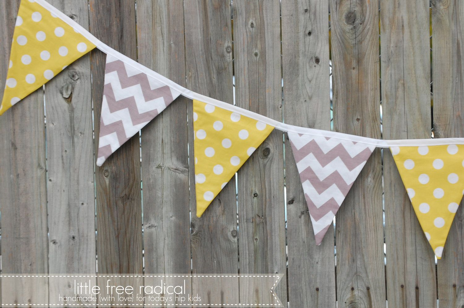 Yellow dot and grey chevron fabric pennant bunting banner great