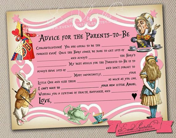 Printable Alice in Wonderland Mad Libs Baby Shower Game New