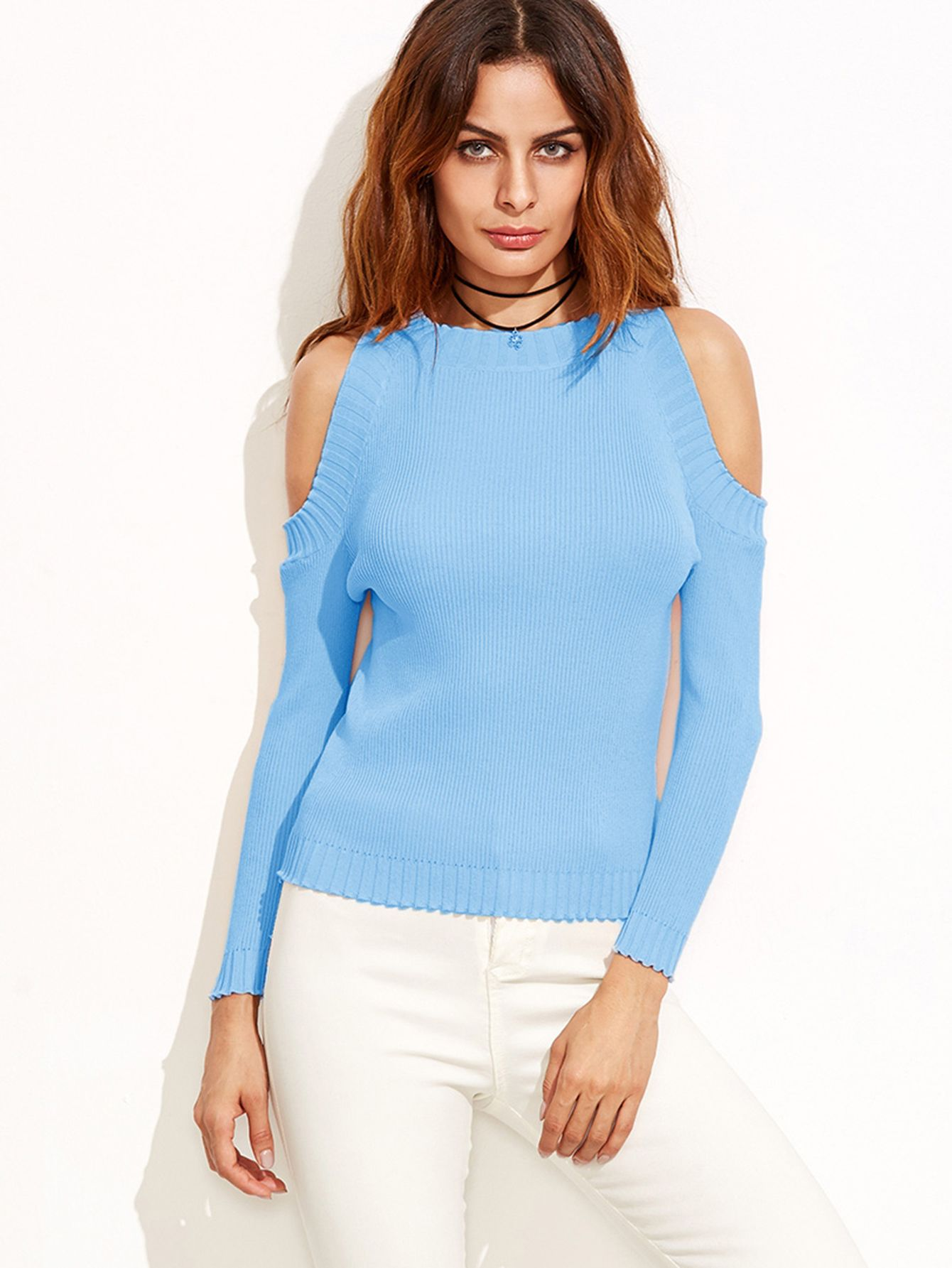 Baby blue shoulder cut out sweater, for summer evenings or autumn. Brings out women's features.  #style #fashion #sweater #best