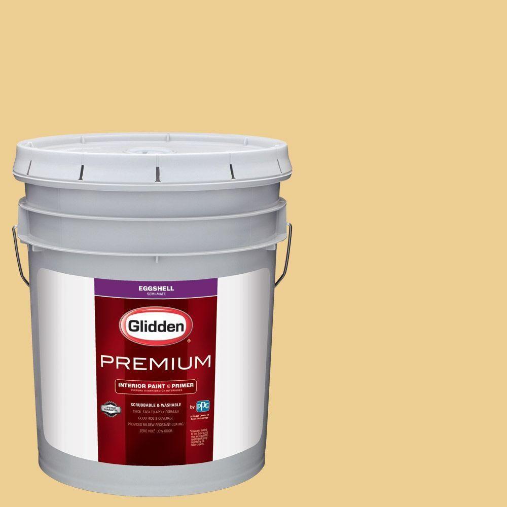 Glidden Premium 5 Gal Hdgy19d Golden Rapture Eggshell Interior Paint With Primer Interior Paint Exterior Paint Flat Interior