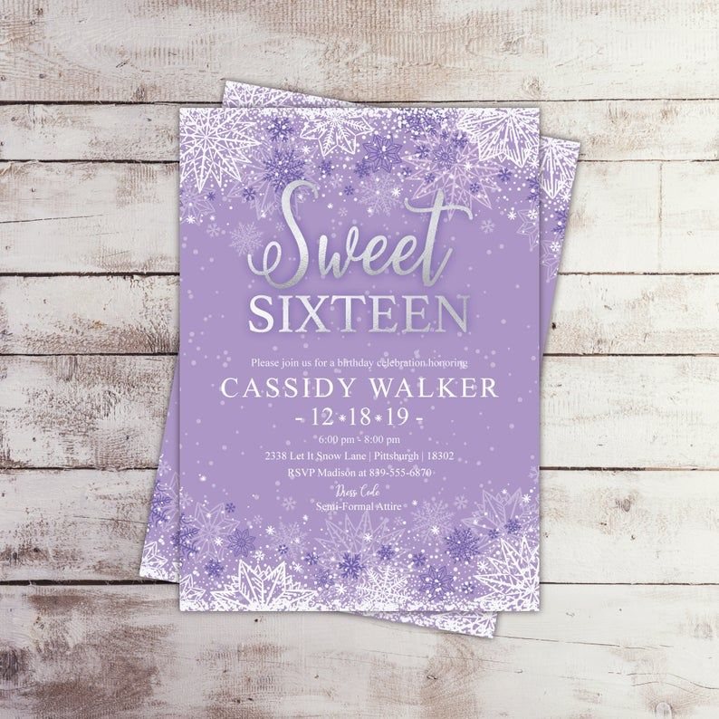 EDITABLE Printable Elegant Winter Birthday Invitation, Purple Snowflake Sweet Sixteen Invite Quince
