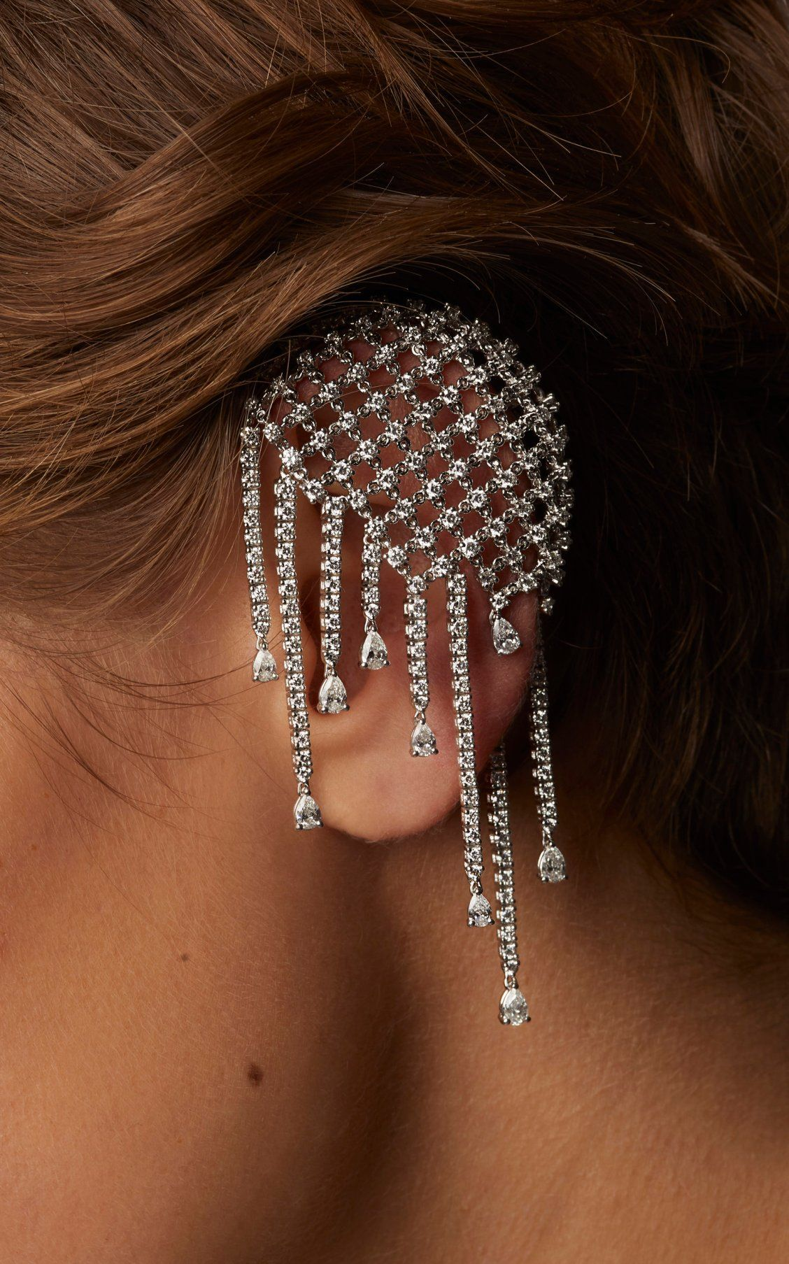 581da2905 18K White Gold Mismatch Diamond Cage Earring by Yeprem SS19 ...