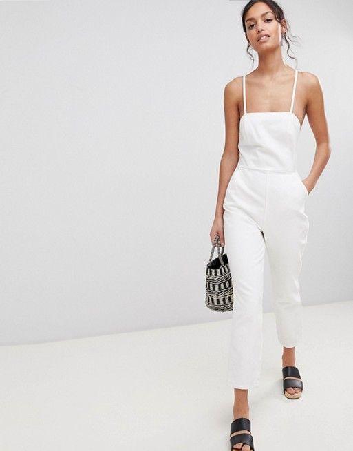 DESIGN denim halterneck jumpsuit in white - White Asos Free Shipping With Mastercard Online Recommend Online vMQGu07k