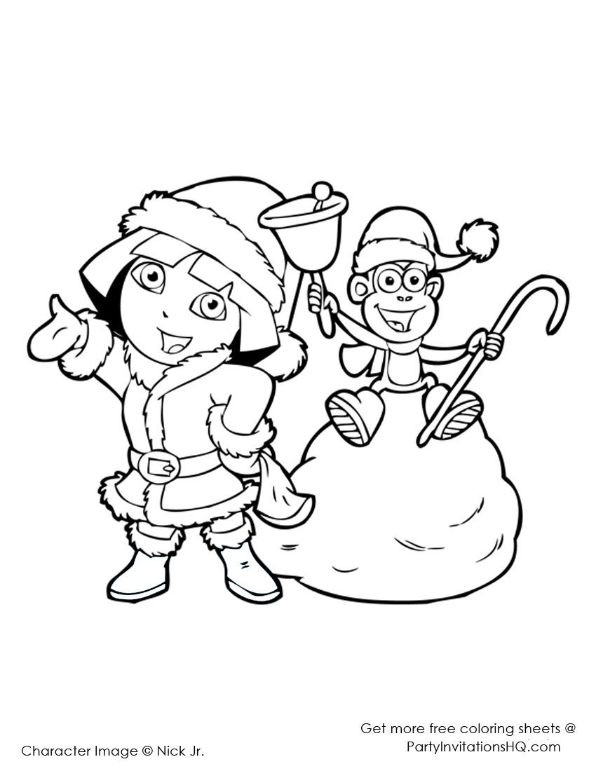 christmas coloring pages | Dora Christmas Coloring Pages: 6 Cute ...