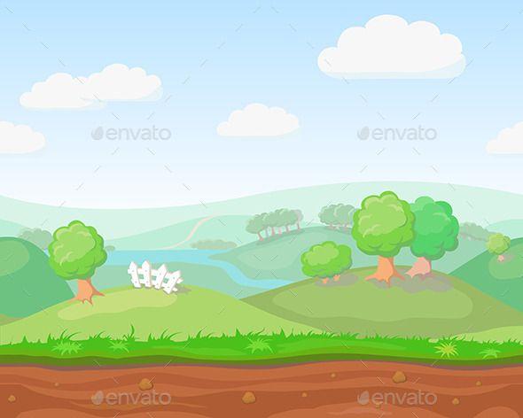 Cartoon Cute Country Seamless Horizontal Cartoon Background Cute N Country Nature Vector