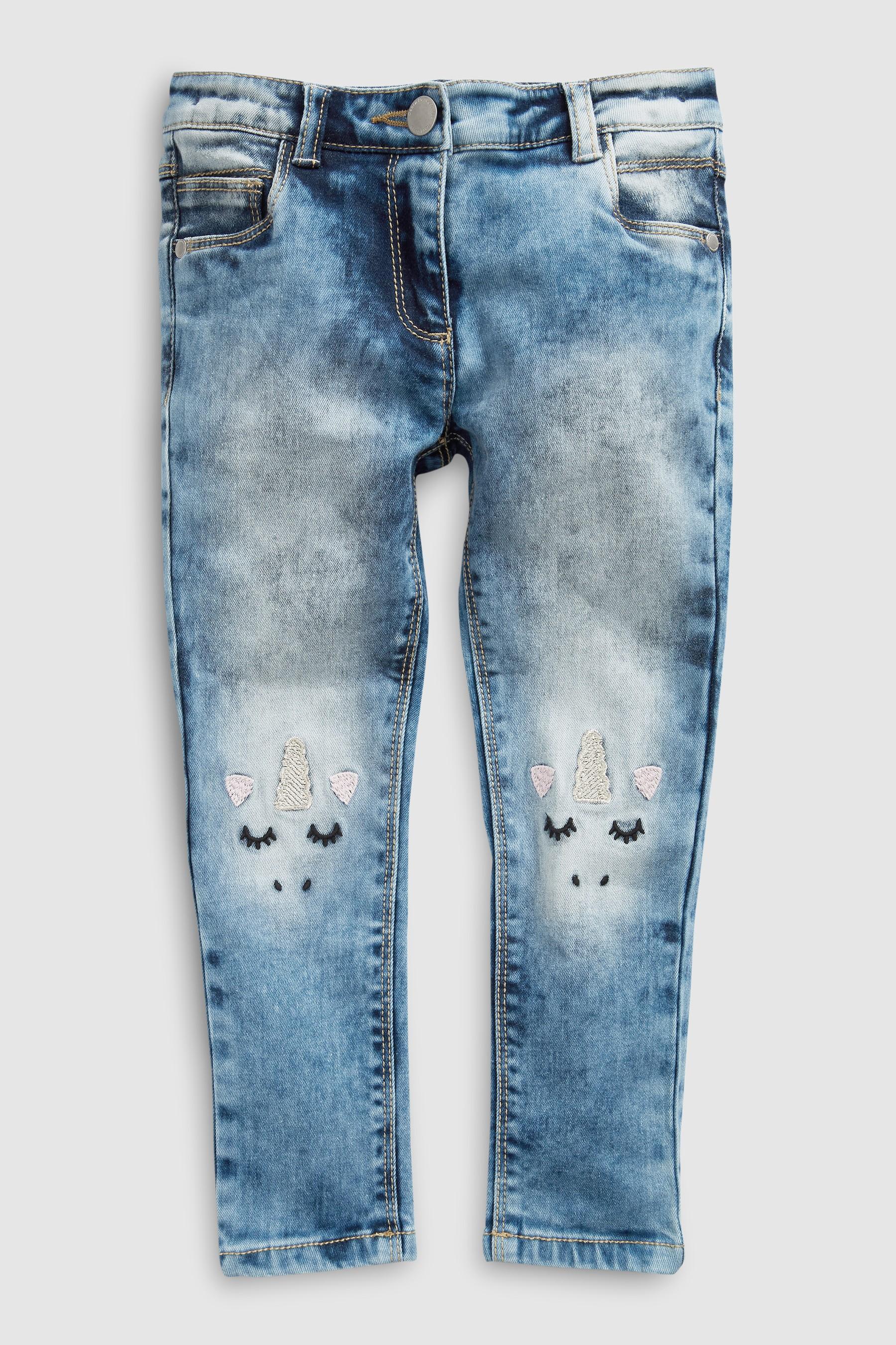 edac3fbf22 Girls Next Mid Blue Skinny Jeans With Unicorn Detail (3-16yrs ...