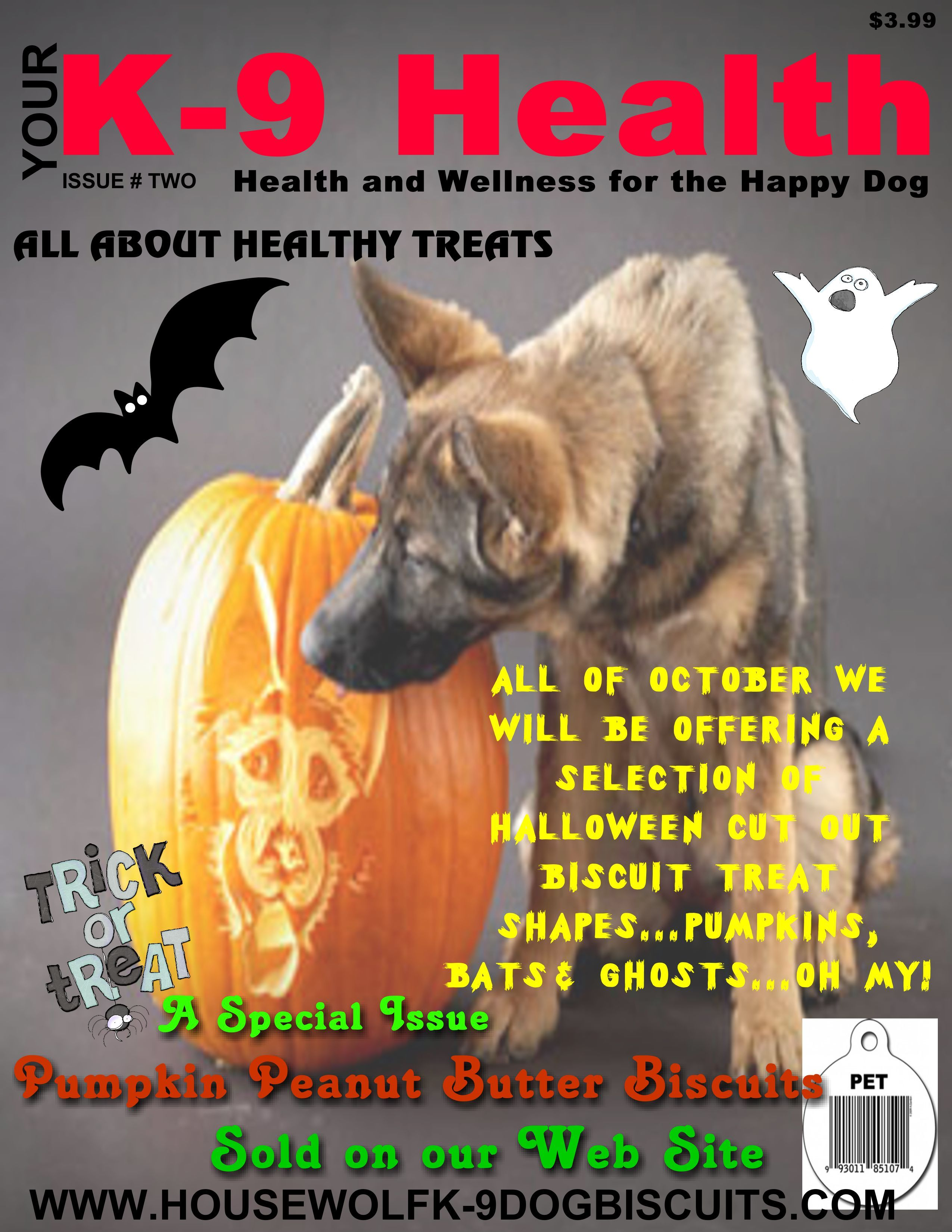 23 Days until Halloween, then our Pumpkin Peanut Butter Biscuit treats will come to an end.  Made with our Sugar Pumpkins from the pumpkin patch in Vermont. www.housewolfk-9dogbiscuits.com