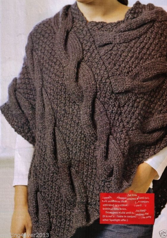 26d2648b7bc16e WOMEN S ARAN CABLE WINTER BULKY EASY PONCHO 80 X 75 CMS 12 PLY KNITTING  PATTERN