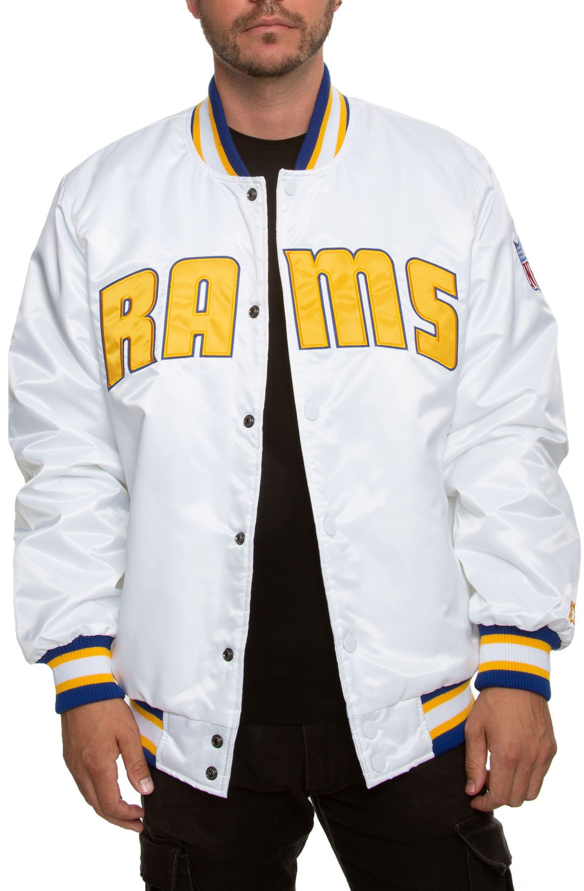 Starter Los Angeles Rams Jacket White Yellow Blue In 2020 Jackets Yellow White Los Angeles Rams