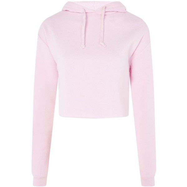 07750430d1fd1 Pastel Pink · Topshop Petite Cropped Hoodie (£25) ❤ liked on Polyvore  featuring tops