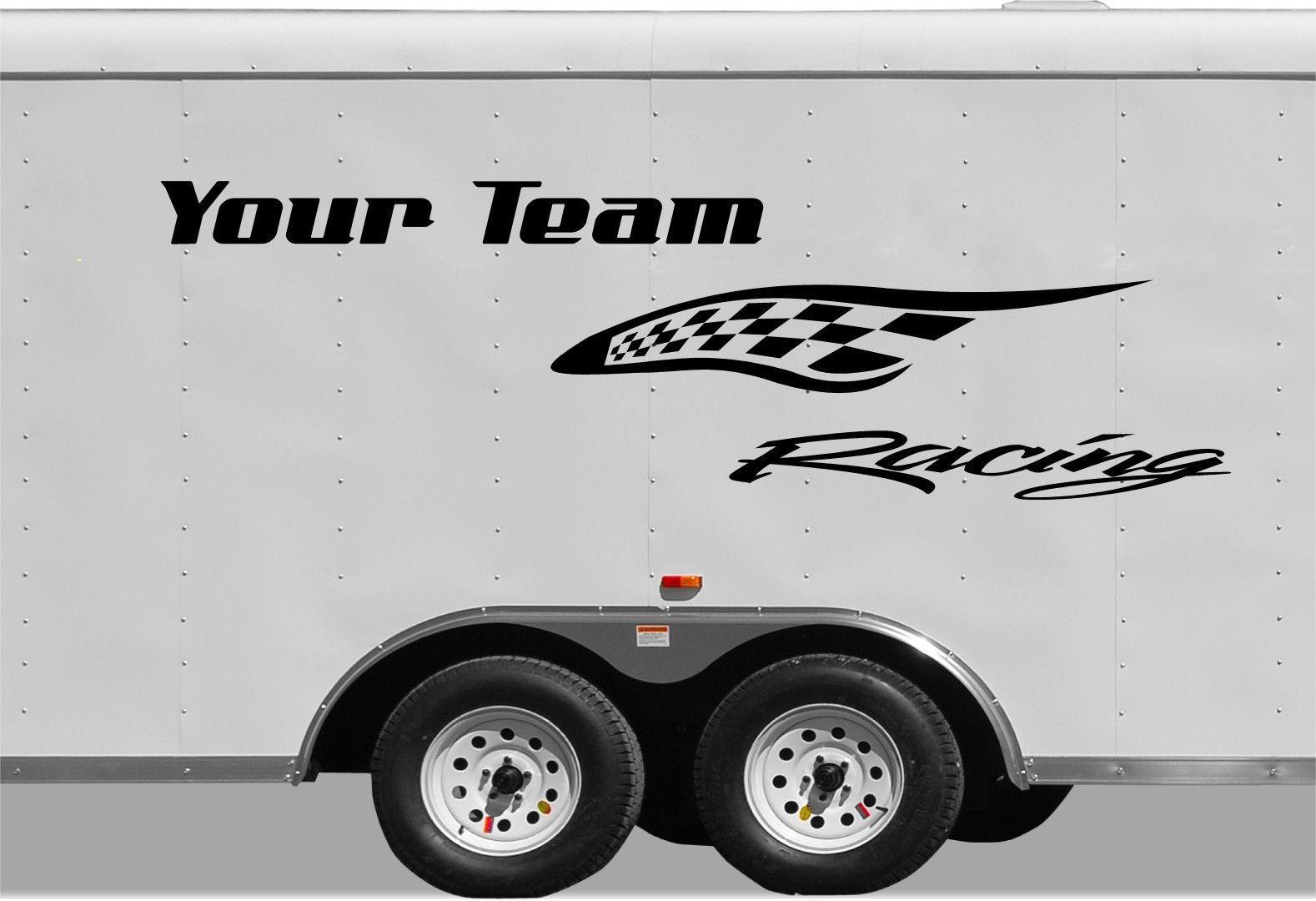 Checkered Racing Stripe Trailer Decal Vinyl Decal Custom Text - Custom vinyl decals for trailers