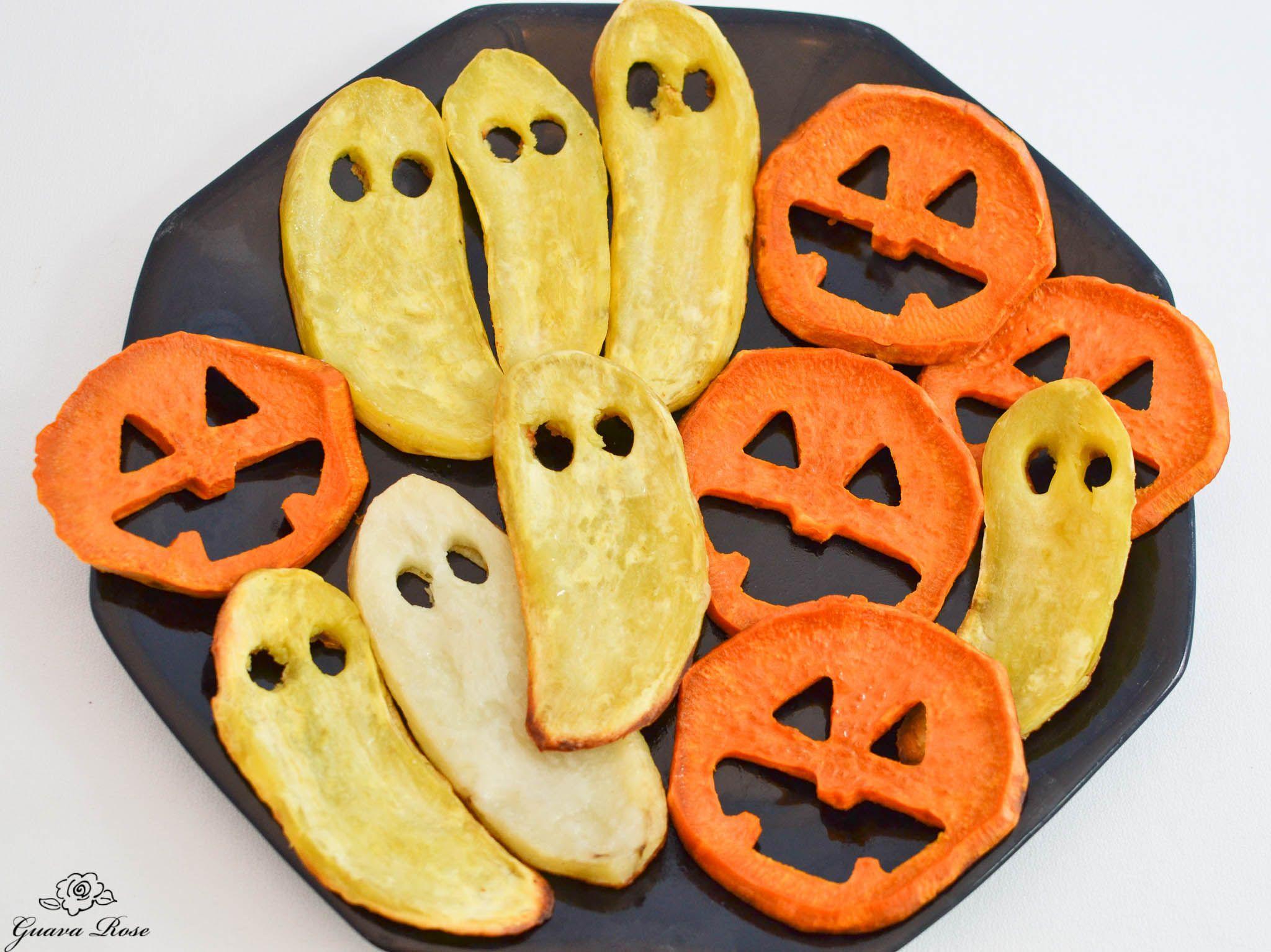 Roasted Sweet Potato Jack-o-Lantern Faces and Ghosts Recipe