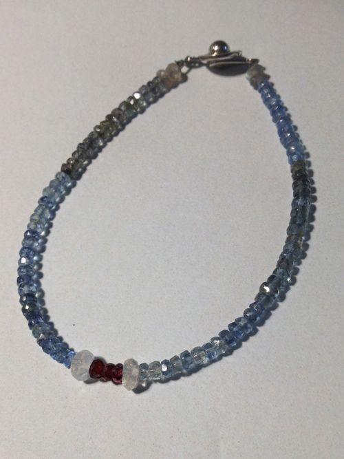Labradorite, Moss aquamarine, moonstone sapphire, 5th work.