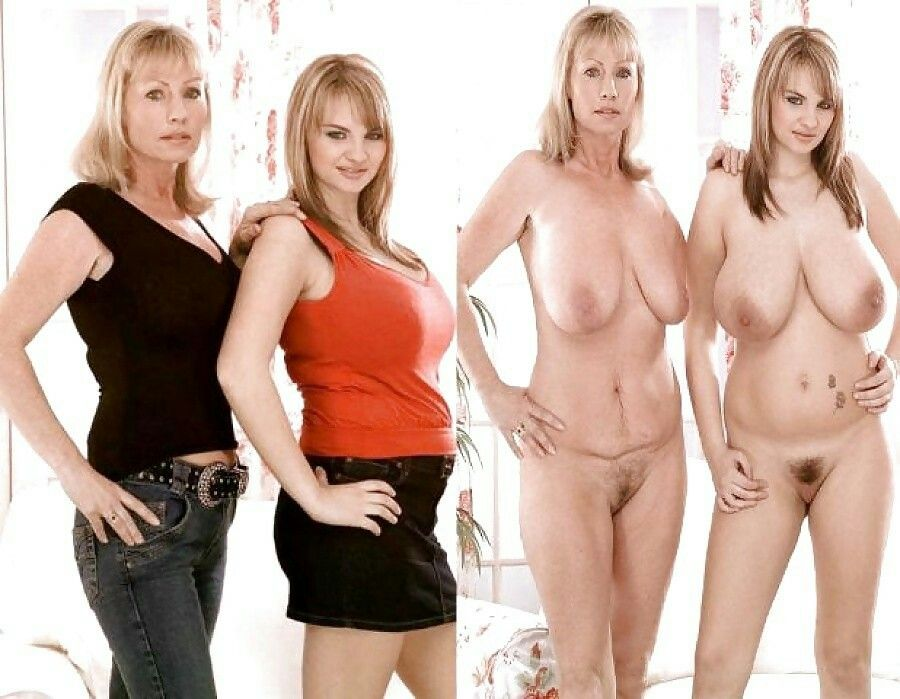 Mother daughters poseing home nude