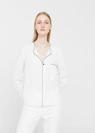 Contrast trim blouse - Women  a6715875d