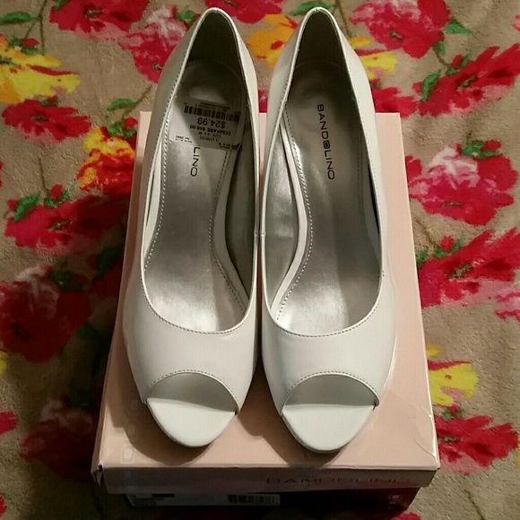 Bandolino White Patent Open-Toe Heels