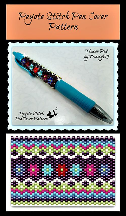 """Flowers"" Beaded Pen Cover Pattern 