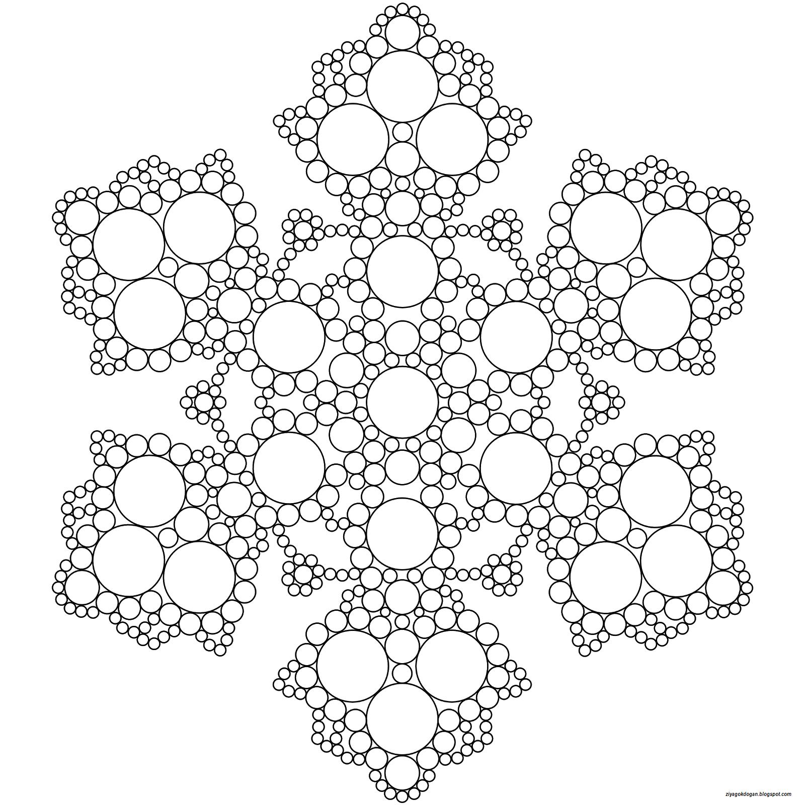 Simetri Sinifim Snowflake Coloring Pages Mandala Coloring Ve
