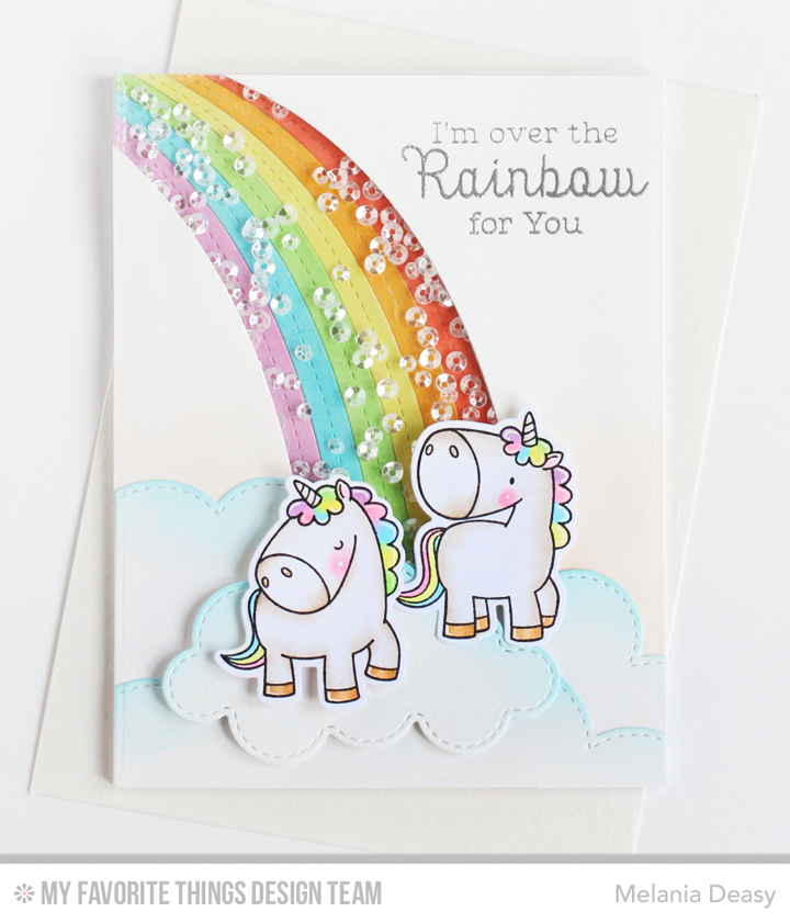Magical Unicorns, Magical Unicorns Die-namics, Rainbow Greetings, Over the Rainbow Die-namics - Melania Deasy #mftstamps