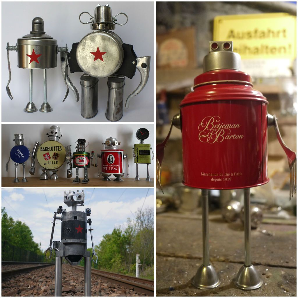 Assemblage of junk robots #Assemblage, #FoundObjects, #Junk, #Metal, #Recycled, #Reused, #Robots, #Sculpture, #Upcycling