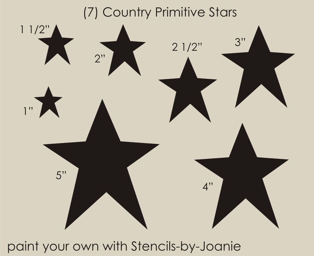 STENCIL Country Primitive Star Shapes U Paint Sign Blocks