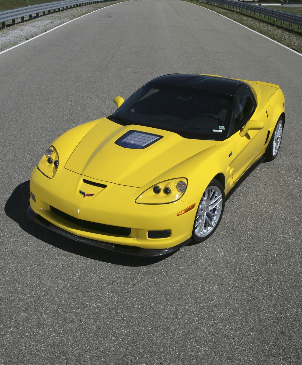 Front Overhead Drivers Side Picture Of A Yellow C6 Chevrolet Zr1