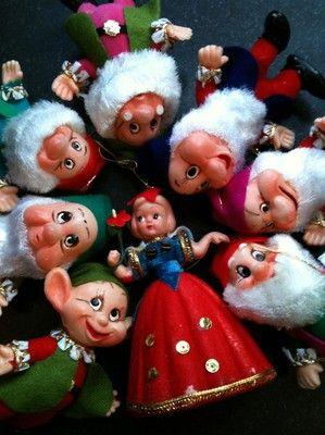 Vtg Walt Disney Flocked Felt Snow White& the 7 Dwarfs ...