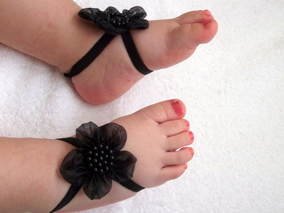 Black Flower Baby Barefoot Sandals - Baby Sandals - Barefoot Sandals-Handmade  Baby Sandals with Cute Yoyo.  8.30