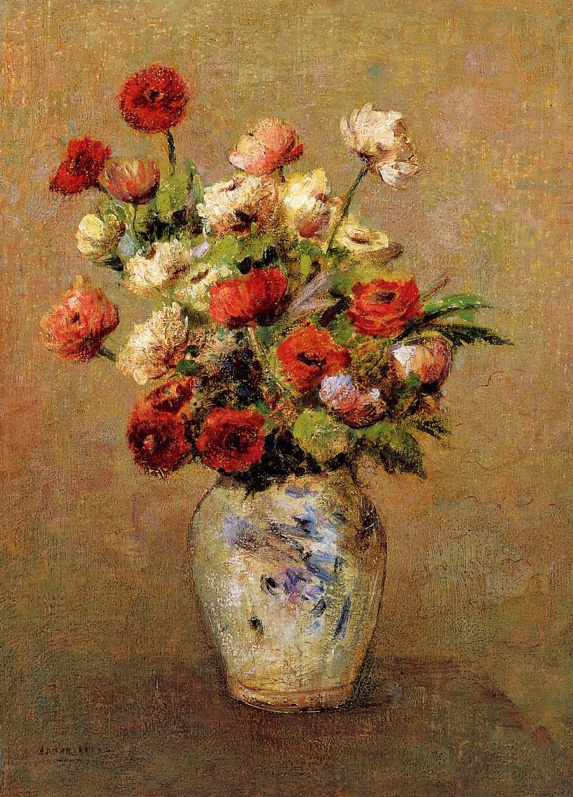 Speaks volumnes of my mother, Sonoma.  I miss her, tears in y eyes.  Bouquet of Flowers 1900  Odilon Redon  WikiPaintings