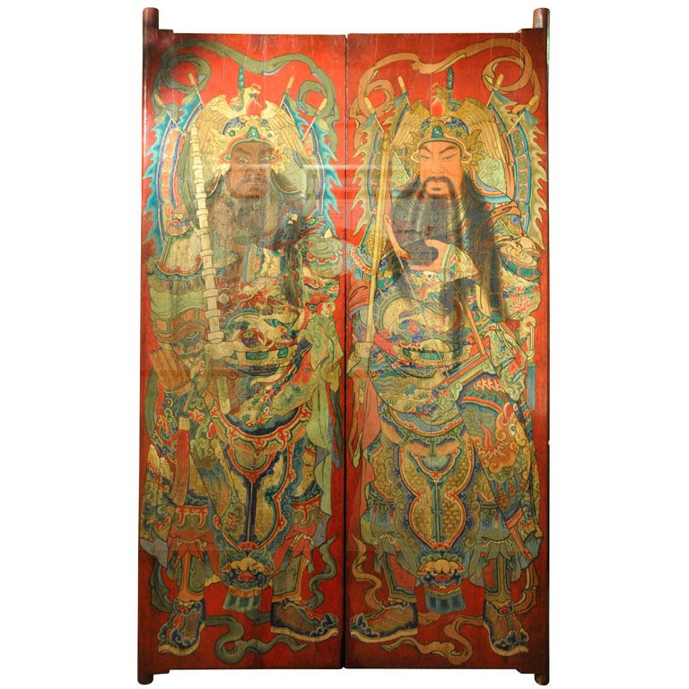 Pair of Fine Painted Chinese Temple Doors, Circa 1890