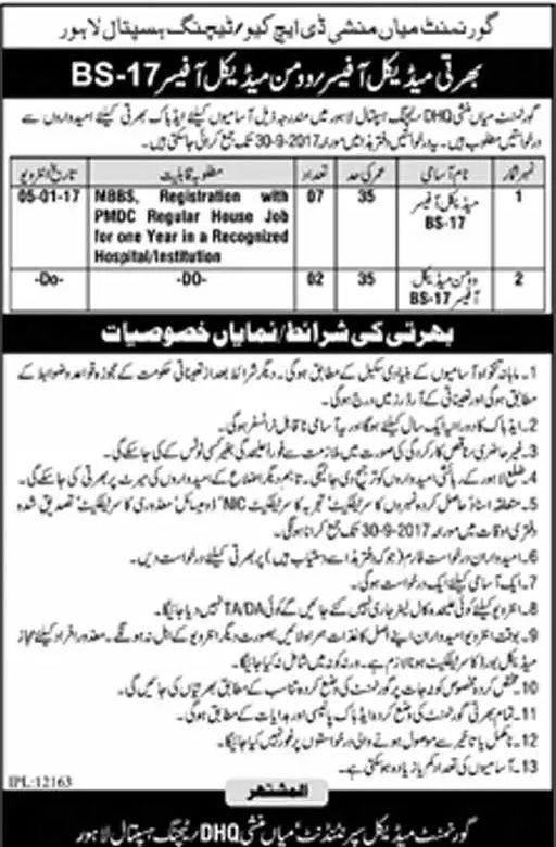 Dhq Teaching Hospital Jobs  In Lahore For Medical Officers