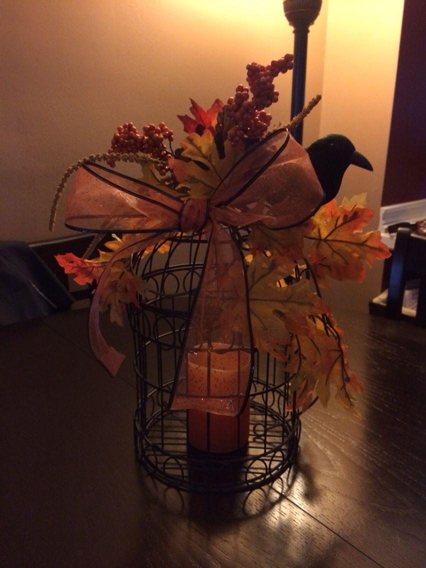 Halloweenfall decorated birdcage. Bird cage, Fall decor