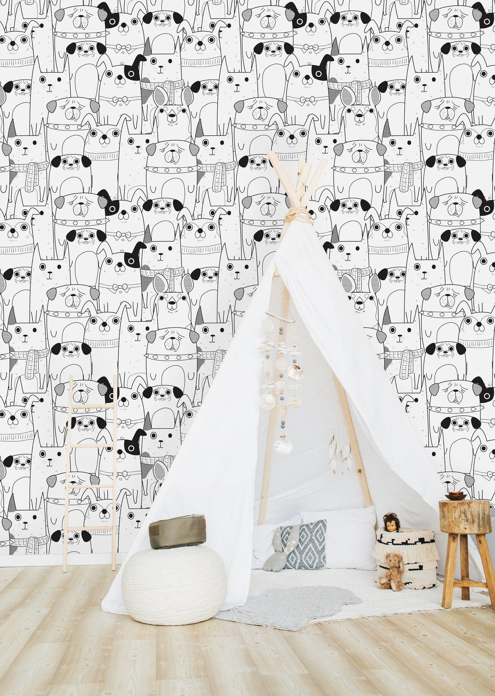 Zwart Wit Honden Wallpaper Peel En Stick Wallpaper Muur Etsy Dog Wallpaper Wall Wallpaper Self Adhesive Wallpaper