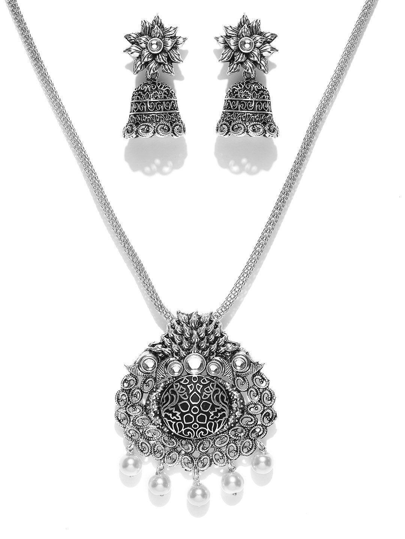 Zaveri Pearls Dark Antique Filigree Pendant Set Zaveri Pearls