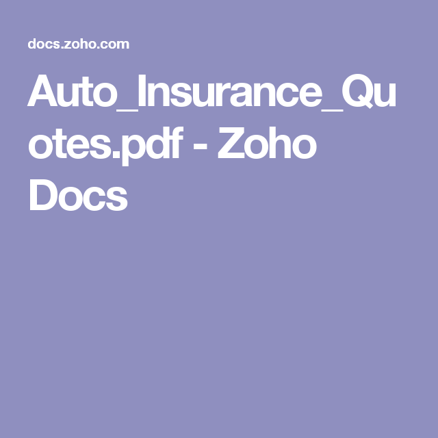 Auto Insurance Quotes Pdf Zoho Docs Car Insurance Auto