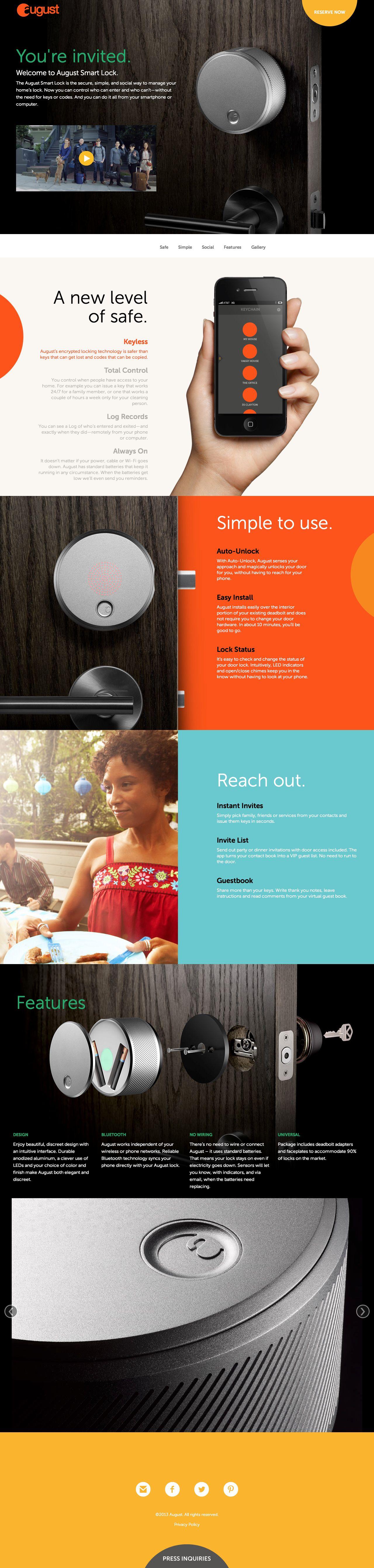 Website Smart Lock by Yves Behar Fun